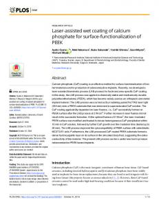 Laser-assisted wet coating of calcium phosphate for surface ... - PLOS