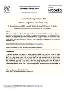 Laser Cutting with Direct Diode Laser - ScienceDirect