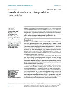 Laser-fabricated castor oil-capped silver nanoparticles