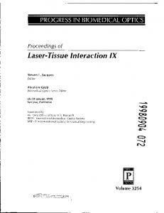 Laser-Tissue Interaction IX
