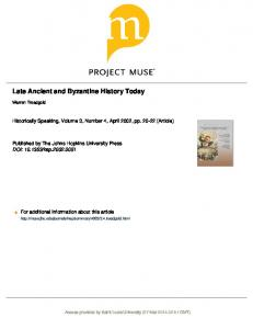 Late Ancient and Byzantine History Today