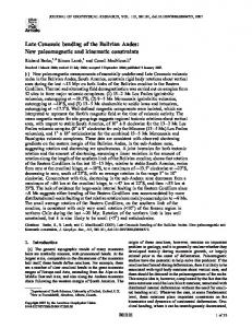 Late Cenozoic bending of the Bolivian Andes - Wiley Online Library