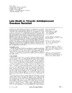Late Death in Tricyclic Antidepressant Overdose Revisited - Annals of ...