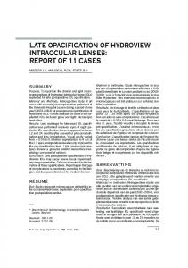 late opacification of hydroview intraocular lenses - Ophthalmologia