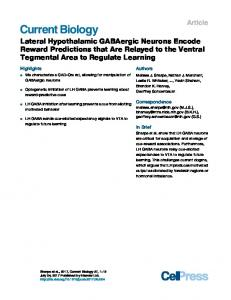 Lateral Hypothalamic GABAergic Neurons Encode ... - Cell Press