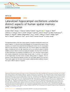 Lateralized hippocampal oscillations underlie distinct aspects of ...