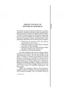Latest Publications Catalogue - Indian Council of Historical Research