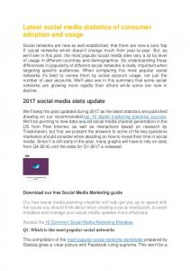 Latest social media statistics of consumer adoption