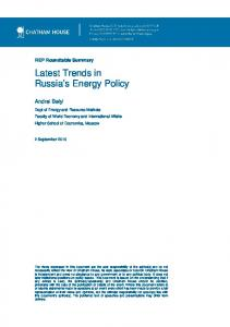 Latest Trends in Russia's Energy Policy - Chatham House