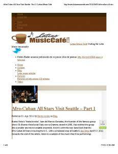Latino Music Cafe - The Afro-Cuban All Stars