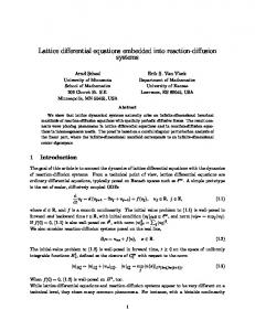 Lattice differential equations embedded into reaction ... - CiteSeerX
