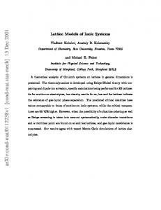 Lattice Models of Ionic Systems