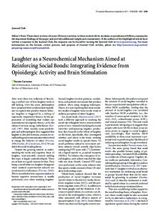 Laughter as a Neurochemical Mechanism Aimed at Reinforcing Social ...