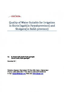 LAV Suitability of water quality for irrigation agriculture ...