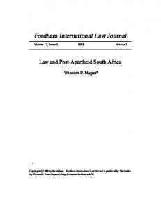 Law and Post-Apartheid South Africa