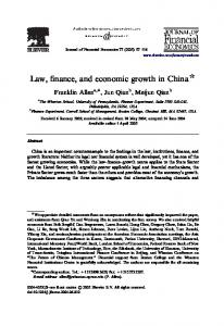 Law, finance, and economic growth in China