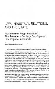law, industrial relations, and the state - Labour / Le Travail
