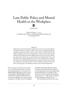 Law, Public Policy and Mental Health in the ... - Semantic Scholar