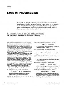 laws of programming - Department of Computer Science, University of