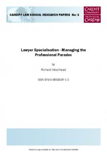 Lawyer Specialisation - Managing the Professional Paradox - SSRN
