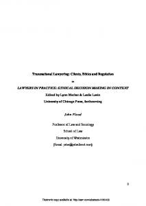 lawyers in practice: ethical decision making in context - SSRN