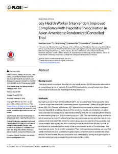 Lay Health Worker Intervention Improved Compliance with ... - PLOS