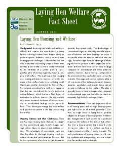 Laying Hen Welfare Fact Sheet - Agricultural Research Service
