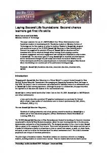 Laying Second Life foundations: Second chance learners get ... - Ascilite