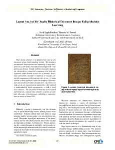 Layout Analysis for Arabic Historical Document Images ... - CiteSeerX