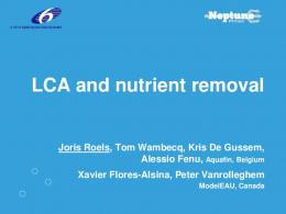 LCA and nutrient removal - EU Project Neptune