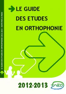 LE GUIDE DES ETUDES EN ORTHOPHONIE - Association ...