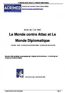 Le Monde contre Attac et Le Monde Diplomatique - Acrimed