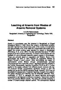 Leaching of Arsenic from Wastes of Arsenic Removal ... - CiteSeerX