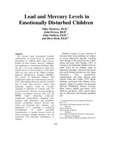 Lead and Mercury Levels in Emotionally Disturbed Children - CiteSeerX