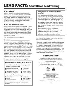 LEAD FACTS: Adult Blood Lead Testing - School of Public Health