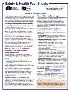 Lead in Construction (Fact Sheet) - California Department of ...