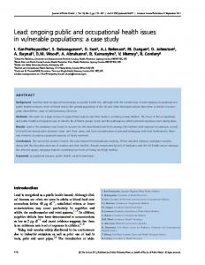 Lead: ongoing public and occupational health ... - Oxford Journals