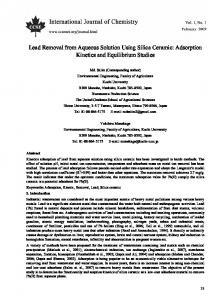 Lead Removal from Aqueous Solution Using Silica Ceramic ...