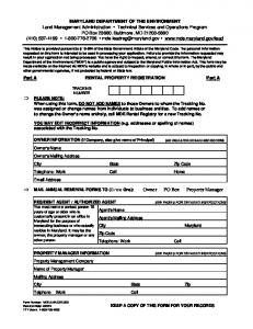 Lead Rental Property Registration Form - Maryland Department of ...