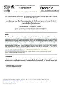 Leadership and the Characteristic of Different ... - Science Direct