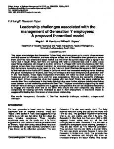 Leadership challenges associated with the ... - Academic Journals