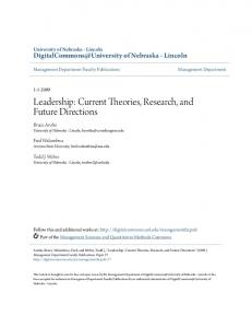 Leadership: Current Theories, Research, and Future Directions
