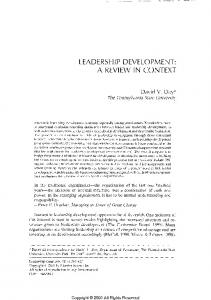 leadership development: a review in context.