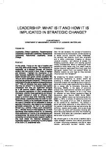 LEADERSHIP: WHAT IS IT AND HOW IT IS IMPLICATED IN