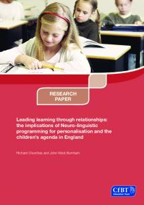 Leading learning through relationships: the