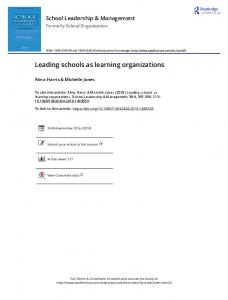 Leading schools as learning organizations
