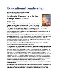 Leading to Change / How Do You Change School Culture? - Creative ...