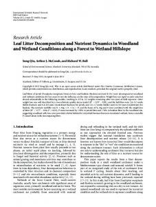 Leaf Litter Decomposition and Nutrient Dynamics in Woodland and ...