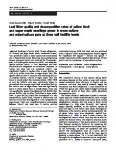 Leaf litter quality and decomposition rates of yellow birch and sugar ...