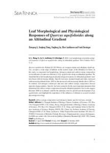 Leaf morphological and physiological responses of Quercus ...